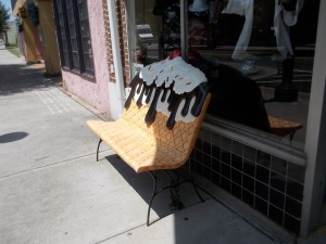062215 Bench at ice cream shop in Maryville