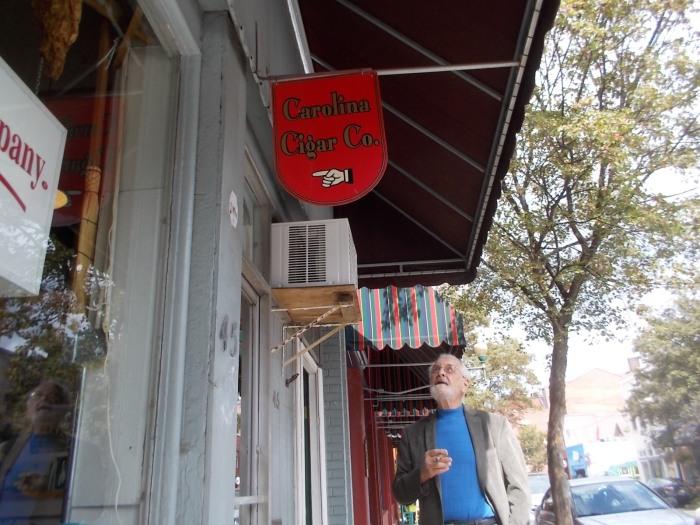 Al at the cigar shop