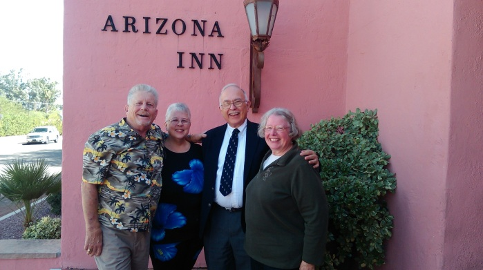 Ron, Kathy, John, and Anne at lovely old hotel
