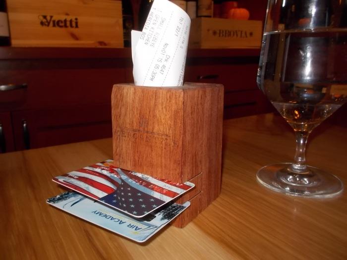 Restaurant bill cube