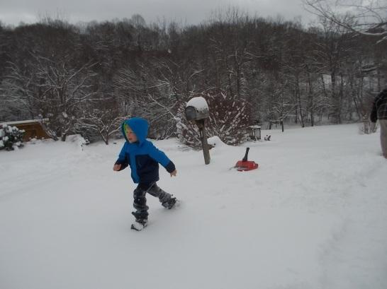 012316 Logan runs in snow