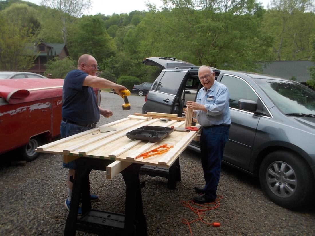 050216 Dennis John construct train base.JPG
