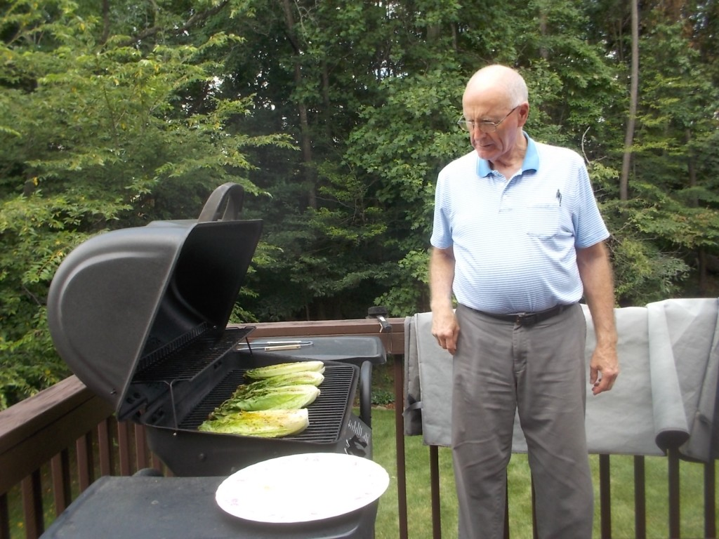 071016 Bob grills Romaine lettuce