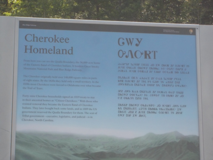 082516 Road sign with English and Cherokee.JPG