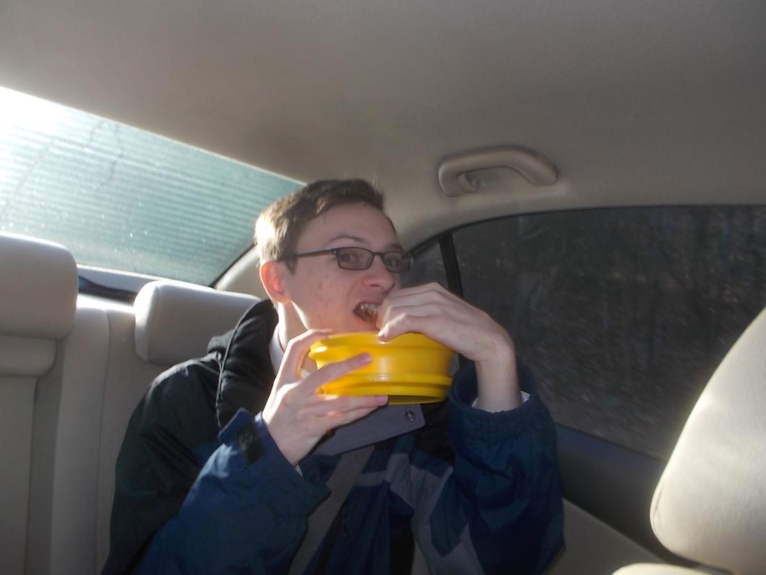 122516 David's breakfast on way to church.JPG