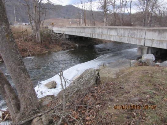 010818 Creek icy under bridge