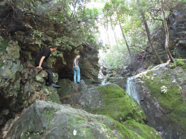 072518 Boys with small waterfall near Hot Springs.JPG
