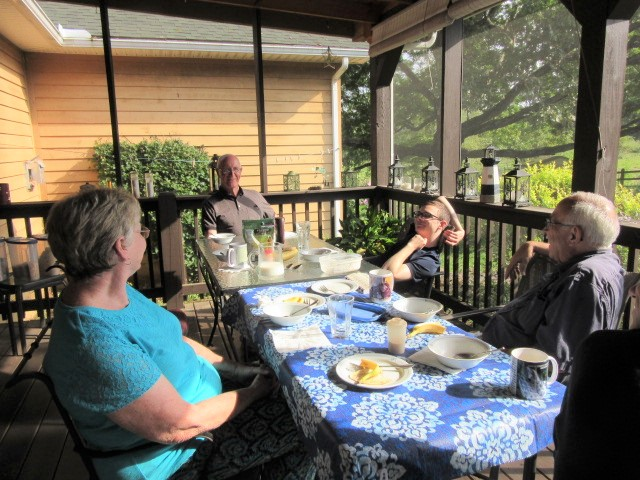 080817 Breakfast on the porch Beth Bob David John.JPG