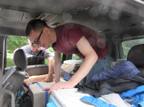 081418 David packs car for last semester of college
