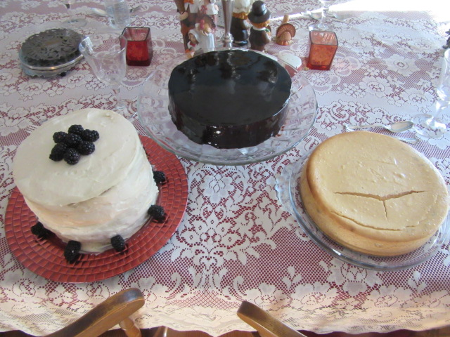 112218 11 Thanksgiving blackberry cake, choc mint mirror glaze, pumpkin cheesecake.JPG