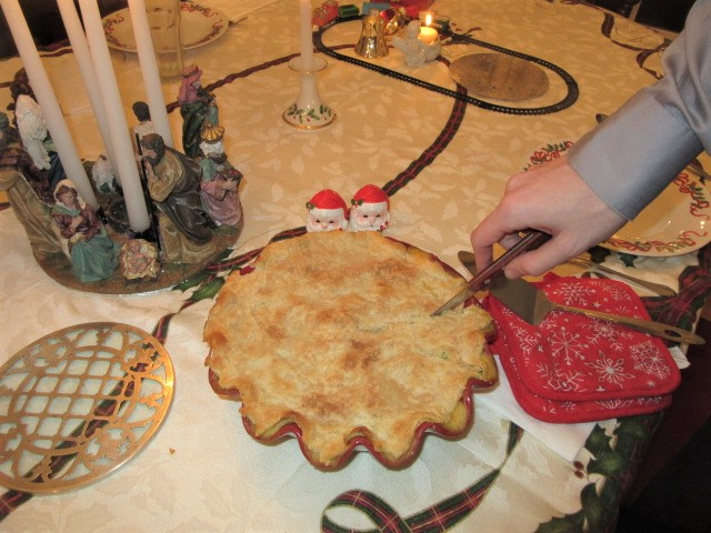 122618 Nate cuts his chicken pot pie.JPG