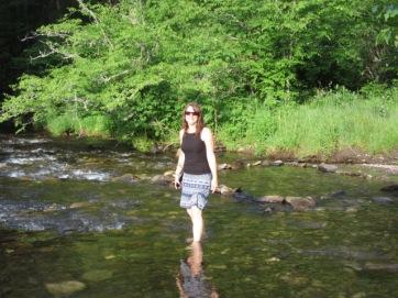 052719 8 Rose wades through stream